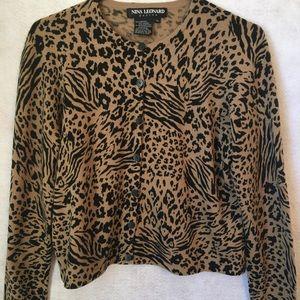 Cardigan Sweater Nina Leonard Leopard Print PL